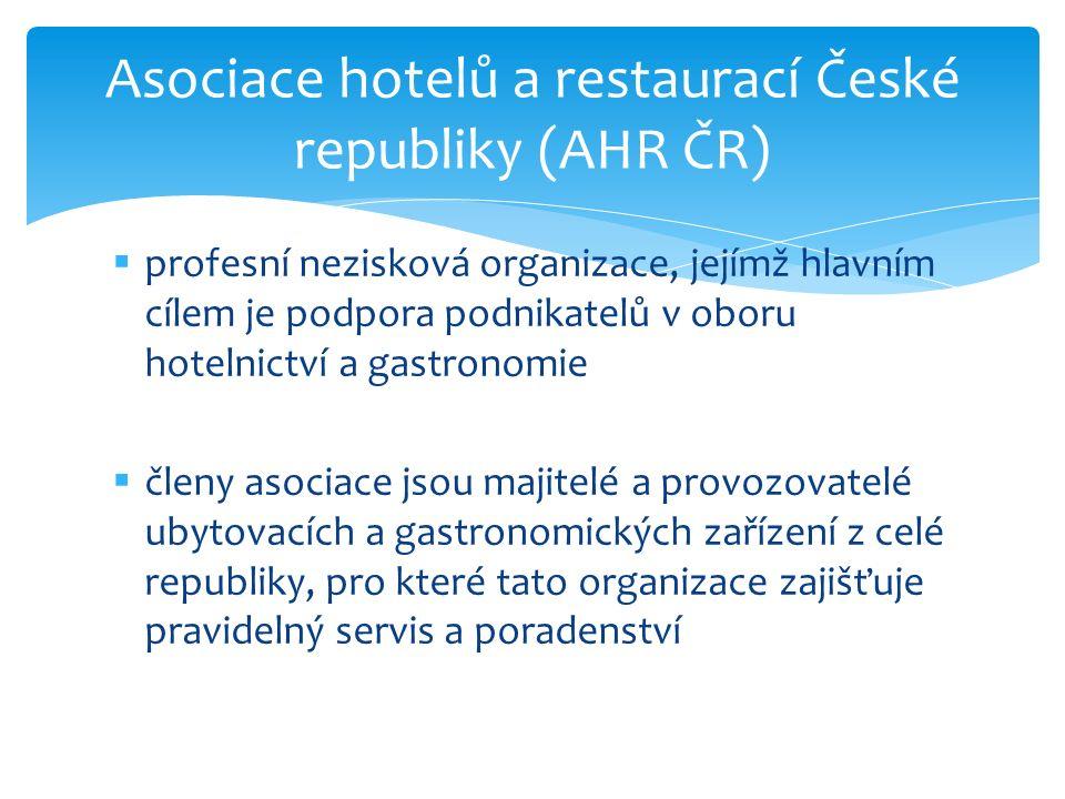 profesní nezisková organizace, jejímž hlavním cílem je podpora podnikatelů v oboru hotelnictví a gastronomie  členy asociace jsou majitelé a provoz