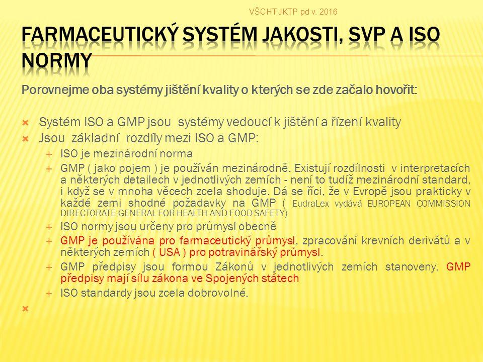Porovnejme oba systémy jištění kvality o kterých se zde začalo hovořit:  Systém ISO a GMP jsou systémy vedoucí k jištění a řízení kvality  Jsou základní rozdíly mezi ISO a GMP:  ISO je mezinárodní norma  GMP ( jako pojem ) je používán mezinárodně.