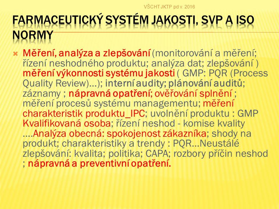  Měření, analýza a zlepšování (monitorování a měření; řízení neshodného produktu; analýza dat; zlepšování ) měření výkonnosti systému jakosti ( GMP: PQR (Process Quality Review)…); interní audity; plánování auditů; záznamy ; nápravná opatření; ověřování splnění ; měření procesů systému managementu; měření charakteristik produktu_IPC; uvolnění produktu : GMP Kvalifikovaná osoba; řízení neshod - komise kvality ….Analýza obecná: spokojenost zákazníka; shody na produkt; charakteristiky a trendy : PQR…Neustálé zlepšování: kvalita; politika; CAPA; rozbory příčin neshod ; nápravná a preventivní opatření.