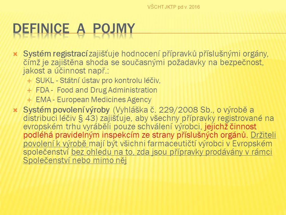  Systém registrací zajišťuje hodnocení přípravků příslušnými orgány, čímž je zajištěna shoda se současnými požadavky na bezpečnost, jakost a účinnost např.:  SUKL - Státní ústav pro kontrolu léčiv,  FDA - Food and Drug Administration  EMA - European Medicines Agency  Systém povolení výroby (Vyhláška č.