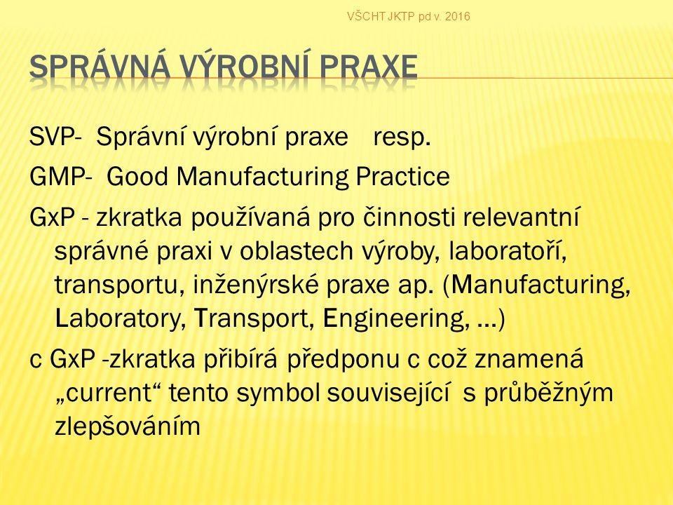 SVP- Správní výrobní praxe resp.