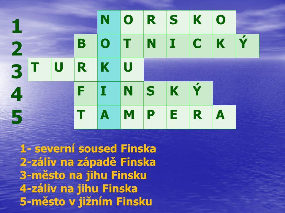 NORSKO BOTNICKÝ TURKU FINSKÝ TAMPERA 1234512345 1- severní soused Finska 2-záliv na západě Finska 3-město na jihu Finsku 4-záliv na jihu Finska 5-město v jižním Finsku