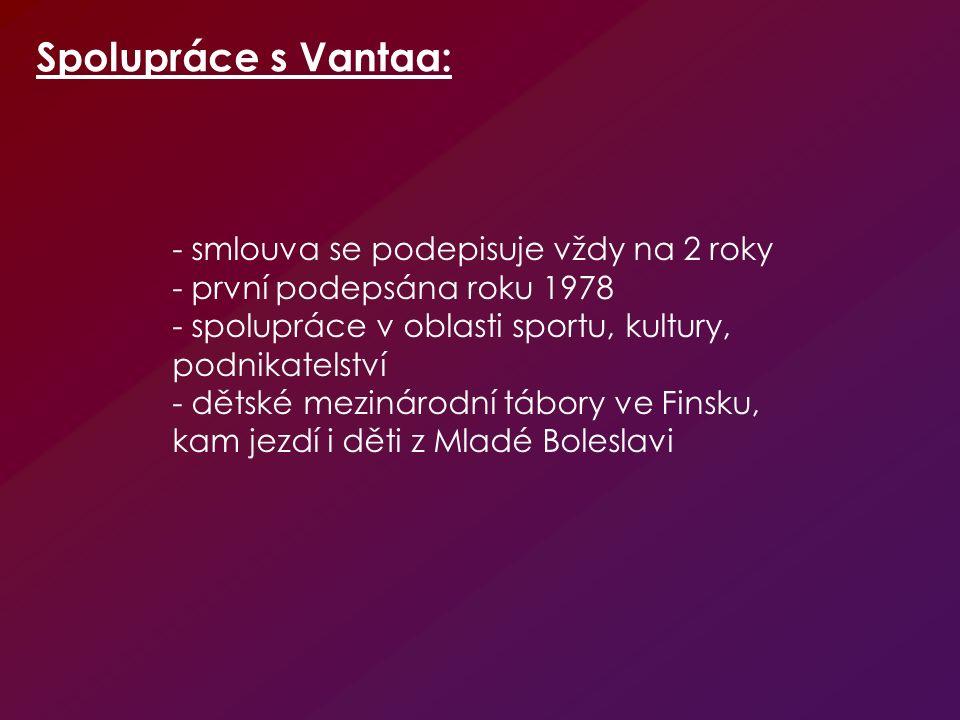 - smlouva se podepisuje vždy na 2 roky - první podepsána roku 1978 - spolupráce v oblasti sportu, kultury, podnikatelství - dětské mezinárodní tábory ve Finsku, kam jezdí i děti z Mladé Boleslavi Spolupráce s Vantaa: