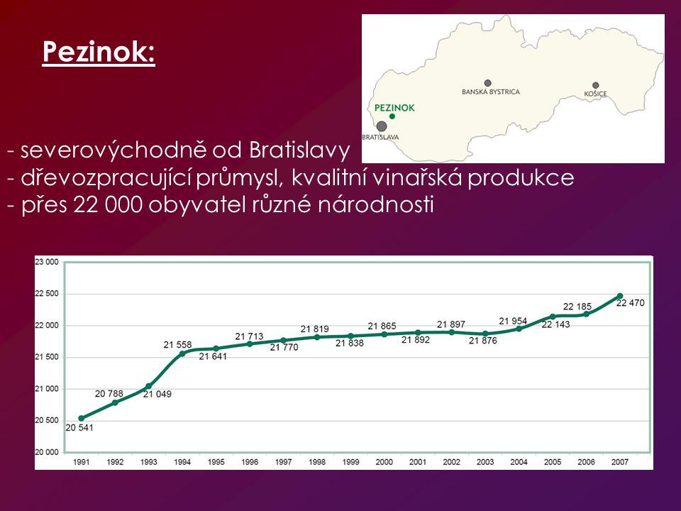 Pezinok: - severovýchodně od Bratislavy - dřevozpracující průmysl, kvalitní vinařská produkce - přes 22 000 obyvatel různé národnosti