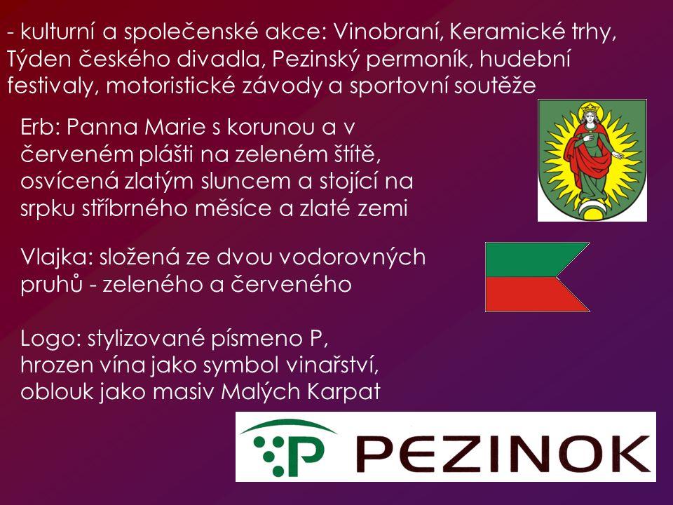 - kulturní a společenské akce: Vinobraní, Keramické trhy, Týden českého divadla, Pezinský permoník, hudební festivaly, motoristické závody a sportovní