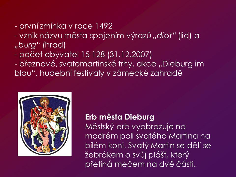 Erb města Dieburg Městský erb vyobrazuje na modrém poli svatého Martina na bílém koni. Svatý Martin se dělí se žebrákem o svůj plášť, který přetíná me