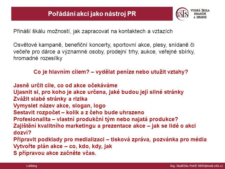Lobbing Ing. Naděžda Petrů 9895@mail.vsfs.cz Pořádání akcí jako nástroj PR Přináší škálu možností, jak zapracovat na kontaktech a vztazích Osvětové ka
