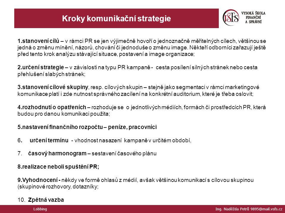 Lobbing Ing. Naděžda Petrů 9895@mail.vsfs.cz Kroky komunikační strategie 1.stanovení cílů – v rámci PR se jen výjimečně hovoří o jednoznačně měřitelný