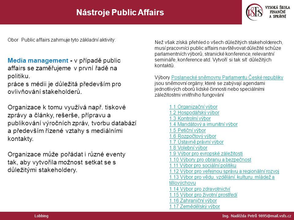 Nástroje Public Affairs Lobbing Ing. Naděžda Petrů 9895@mail.vsfs.cz Obor Public affairs zahrnuje tyto základní aktivity: Media management - v případě