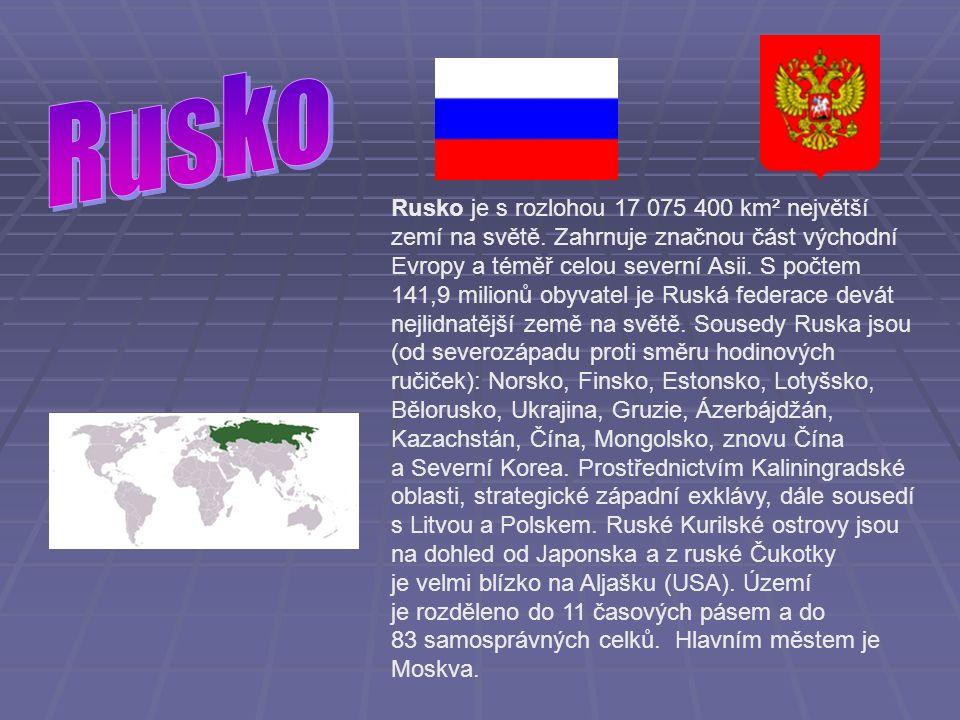 Rusko je s rozlohou 17 075 400 km² největší zemí na světě.