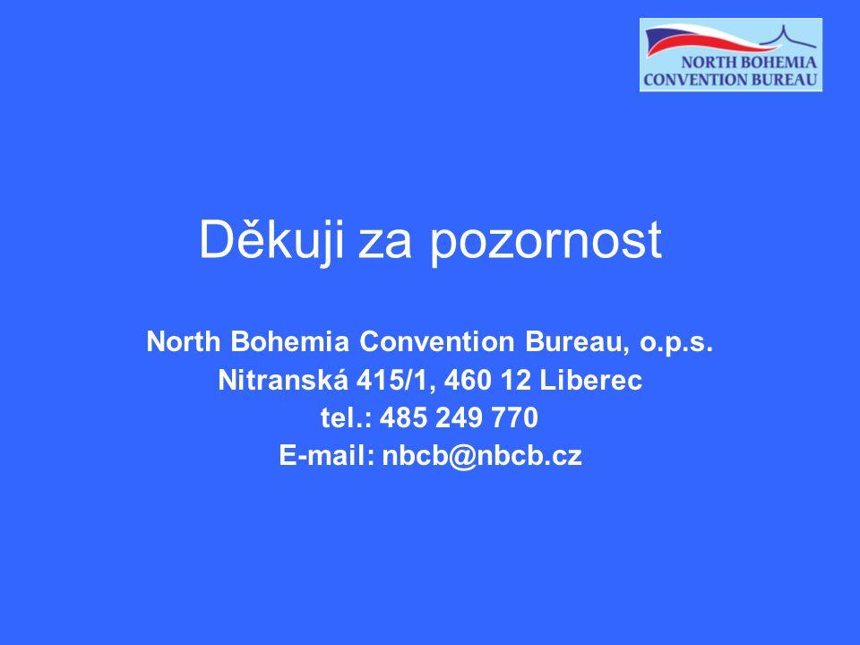 Děkuji za pozornost North Bohemia Convention Bureau, o.p.s. Nitranská 415/1, 460 12 Liberec tel.: 485 249 770 E-mail: nbcb@nbcb.cz