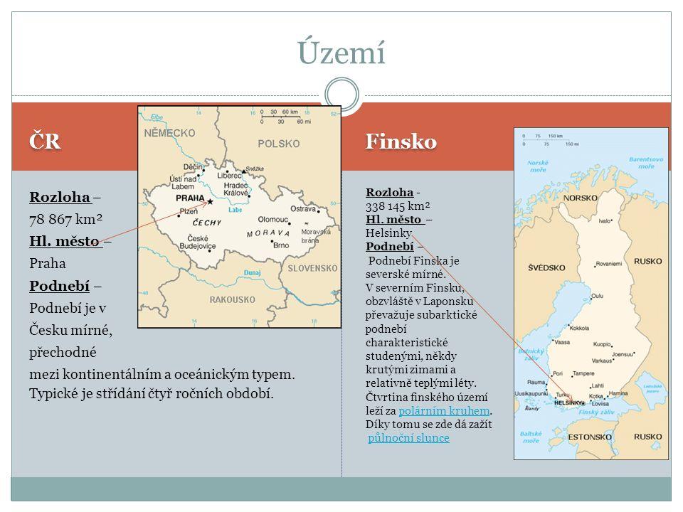 ČR Finsko Rozloha – 78 867 km² Hl.