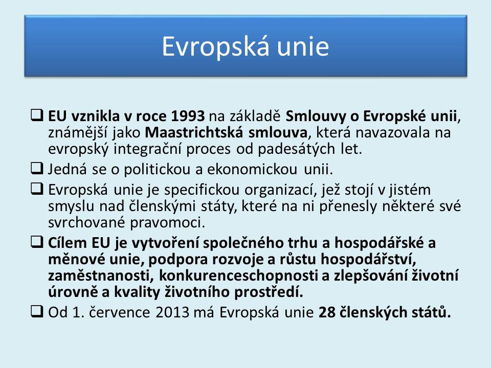Evropská unie  EU vznikla v roce 1993 na základě Smlouvy o Evropské unii, známější jako Maastrichtská smlouva, která navazovala na evropský integrační proces od padesátých let.