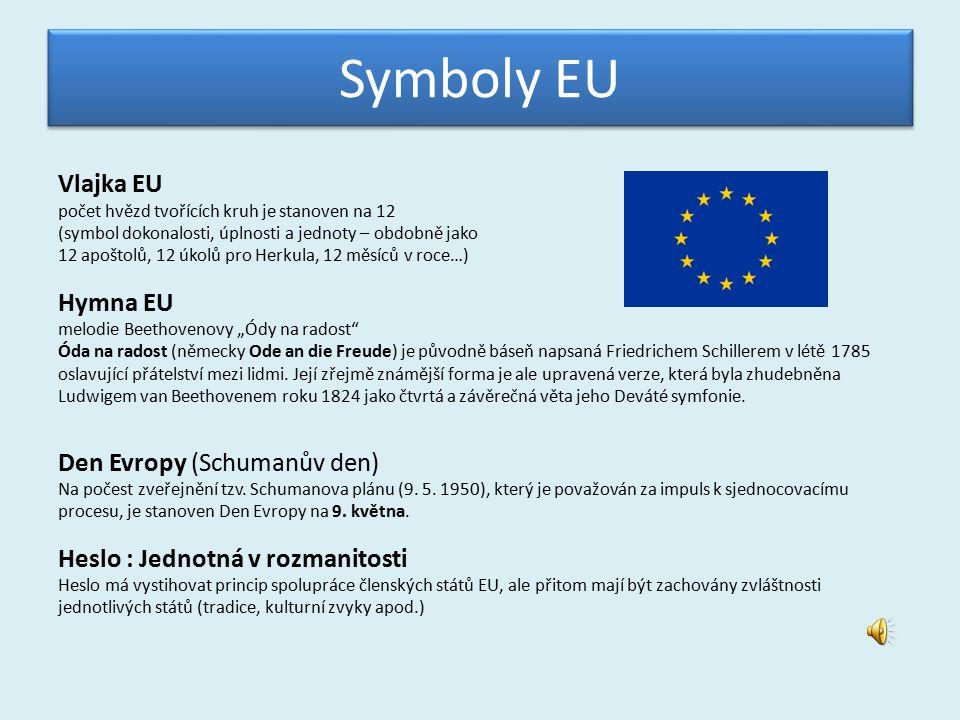"""Symboly EU Vlajka EU počet hvězd tvořících kruh je stanoven na 12 (symbol dokonalosti, úplnosti a jednoty – obdobně jako 12 apoštolů, 12 úkolů pro Herkula, 12 měsíců v roce…) Hymna EU melodie Beethovenovy """"Ódy na radost Óda na radost (německy Ode an die Freude) je původně báseň napsaná Friedrichem Schillerem v létě 1785 oslavující přátelství mezi lidmi."""