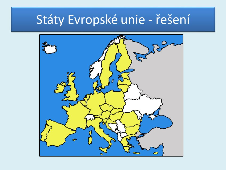 Státy Evropské unie - řešení