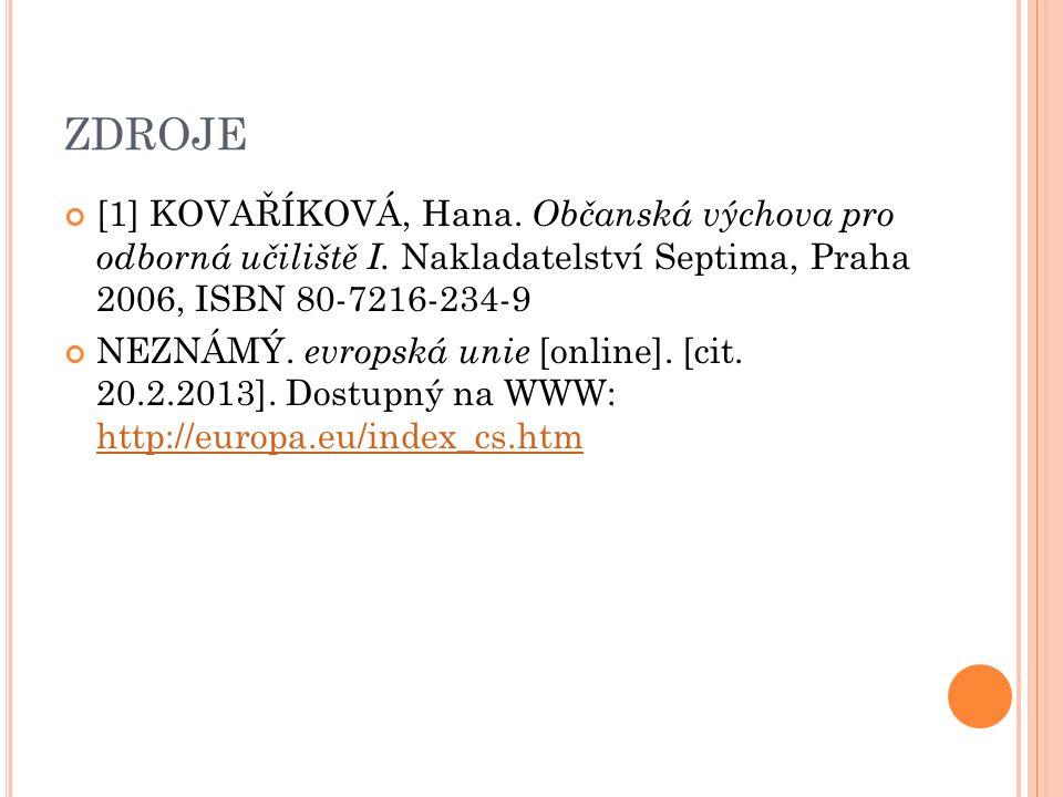 ZDROJE [1] KOVAŘÍKOVÁ, Hana. Občanská výchova pro odborná učiliště I.