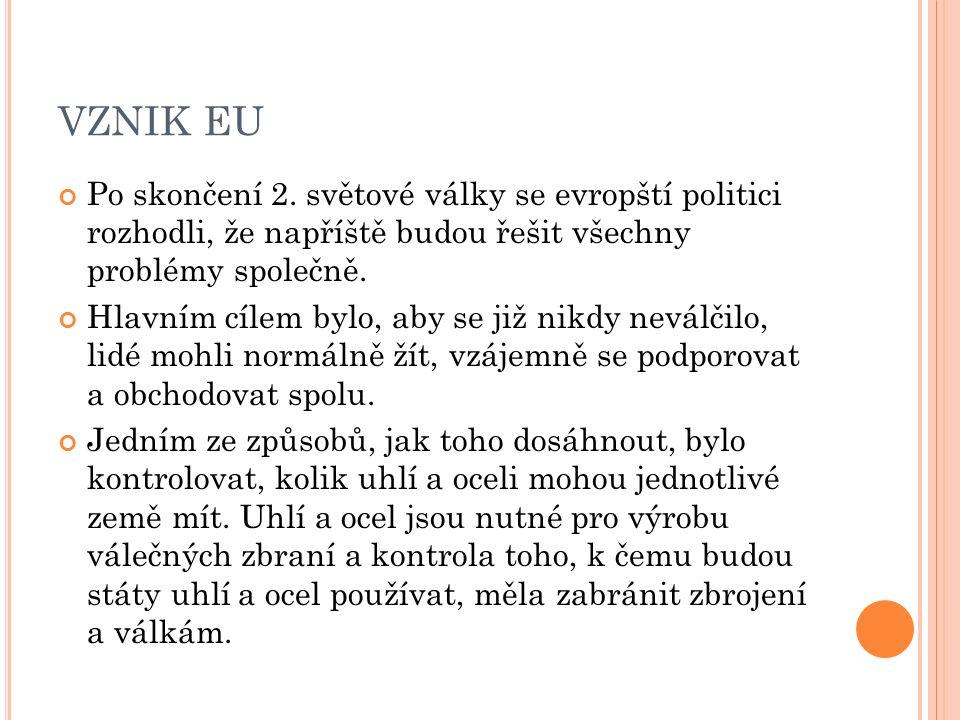 VZNIK EU Po skončení 2.
