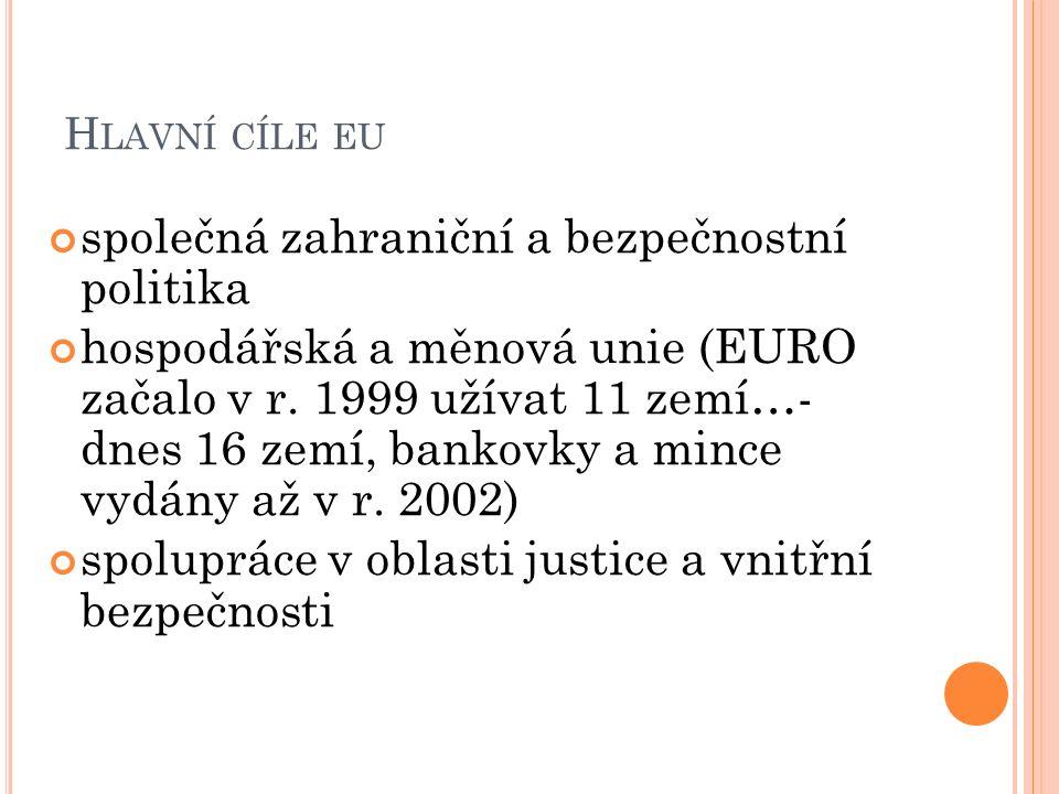H LAVNÍ CÍLE EU společná zahraniční a bezpečnostní politika hospodářská a měnová unie (EURO začalo v r.