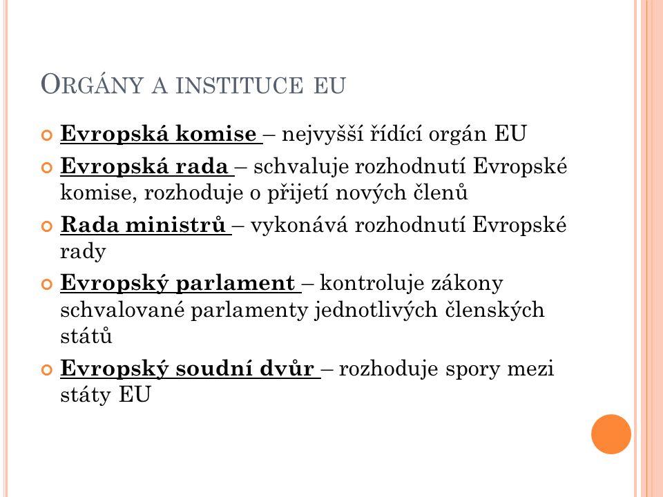 O RGÁNY A INSTITUCE EU Evropská komise – nejvyšší řídící orgán EU Evropská rada – schvaluje rozhodnutí Evropské komise, rozhoduje o přijetí nových členů Rada ministrů – vykonává rozhodnutí Evropské rady Evropský parlament – kontroluje zákony schvalované parlamenty jednotlivých členských států Evropský soudní dvůr – rozhoduje spory mezi státy EU