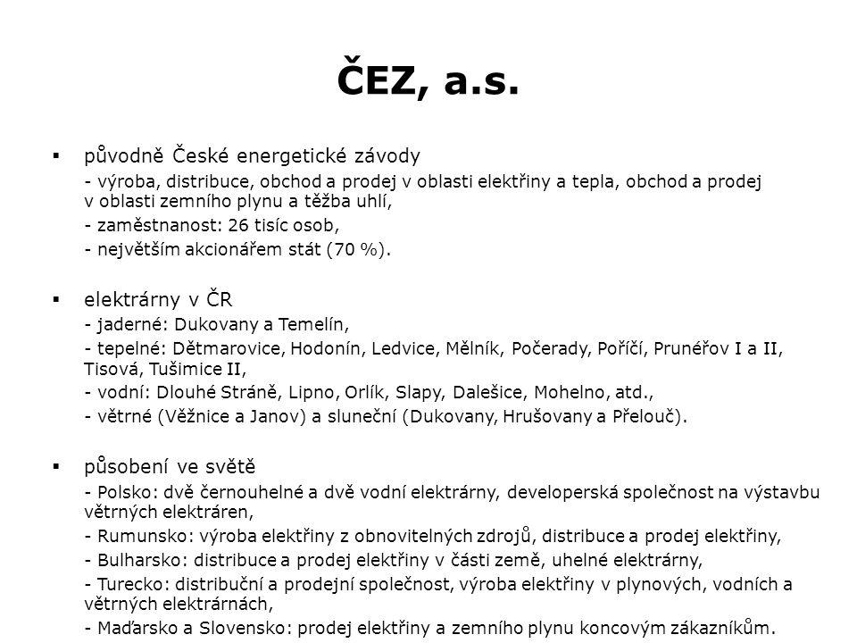 ČEZ, a.s.  původně České energetické závody - výroba, distribuce, obchod a prodej v oblasti elektřiny a tepla, obchod a prodej v oblasti zemního plyn