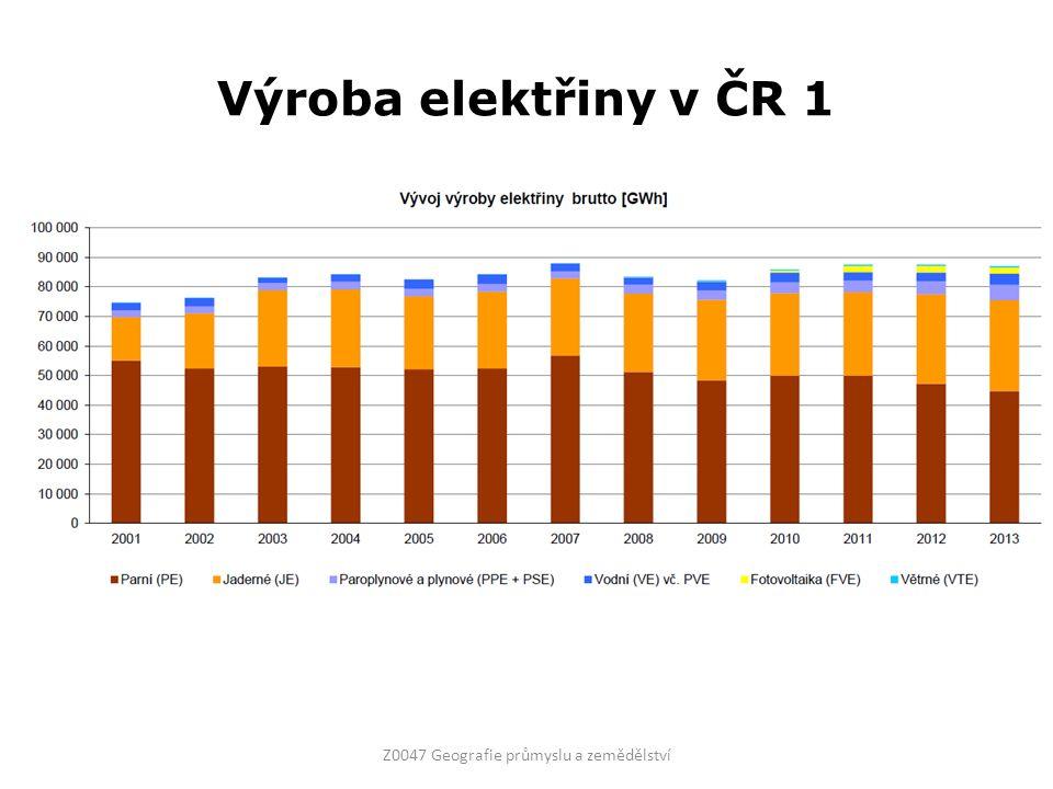 Výroba elektřiny v ČR 1 Z0047 Geografie průmyslu a zemědělství