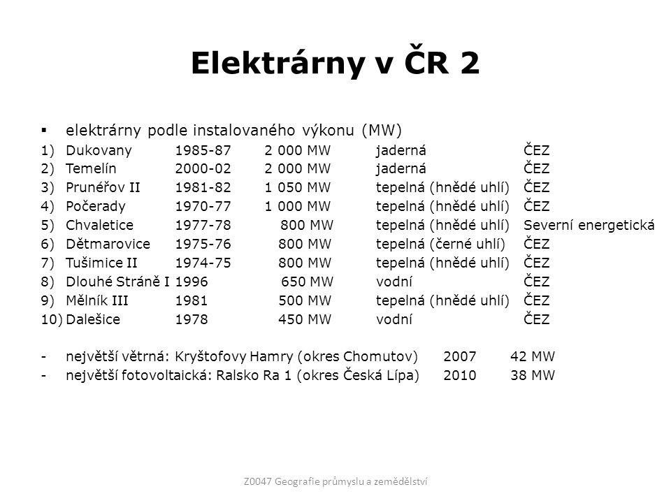 Elektrárny v ČR 2 Z0047 Geografie průmyslu a zemědělství  elektrárny podle instalovaného výkonu (MW) 1)Dukovany1985-87 2 000 MWjaderná ČEZ 2)Temelín2000-02 2 000 MWjaderná ČEZ 3)Prunéřov II1981-82 1 050 MWtepelná (hnědé uhlí) ČEZ 4)Počerady1970-77 1 000 MWtepelná (hnědé uhlí) ČEZ 5)Chvaletice1977-78 800 MWtepelná (hnědé uhlí) Severní energetická 6)Dětmarovice1975-76 800 MWtepelná (černé uhlí) ČEZ 7)Tušimice II1974-75 800 MWtepelná (hnědé uhlí) ČEZ 8)Dlouhé Stráně I1996 650 MWvodní ČEZ 9)Mělník III1981 500 MWtepelná (hnědé uhlí) ČEZ 10)Dalešice1978 450 MWvodní ČEZ -největší větrná: Kryštofovy Hamry (okres Chomutov)200742 MW -největší fotovoltaická: Ralsko Ra 1 (okres Česká Lípa)201038 MW