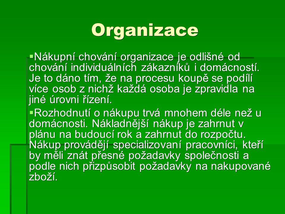 Organizace  Nákupní chování organizace je odlišné od chování individuálních zákazníků i domácností.