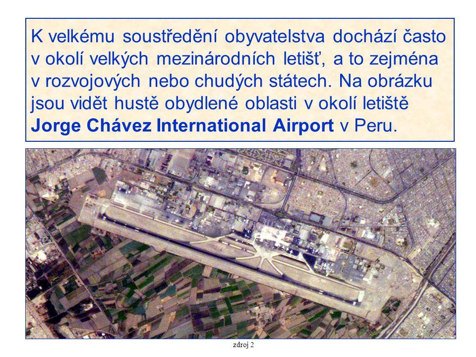 K velkému soustředění obyvatelstva dochází často v okolí velkých mezinárodních letišť, a to zejména v rozvojových nebo chudých státech. Na obrázku jso