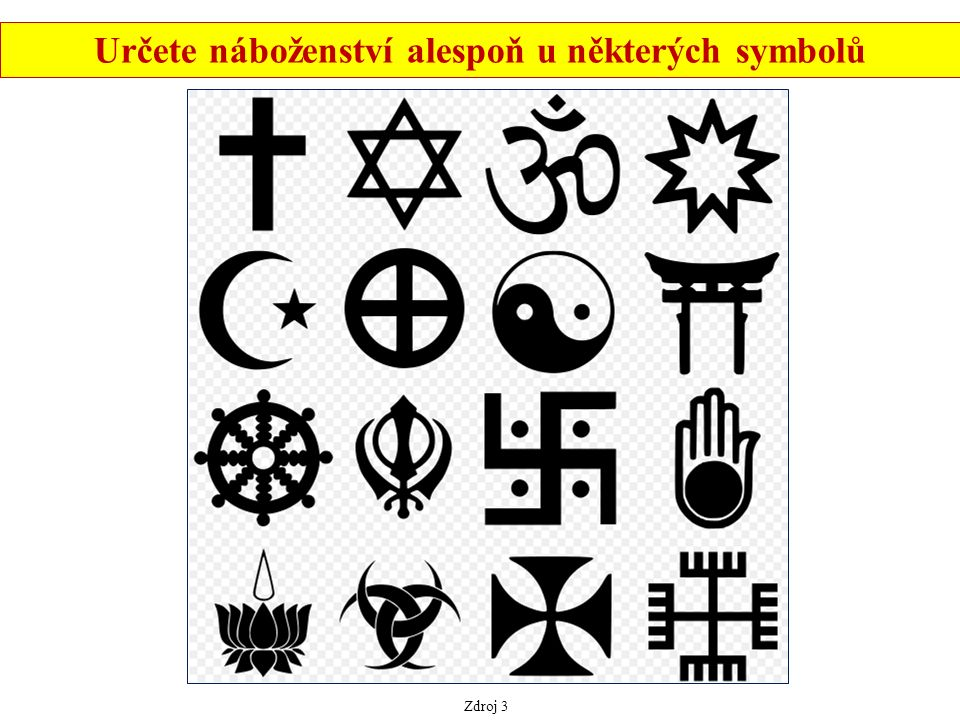 Zdroj 3 Určete náboženství alespoň u některých symbolů
