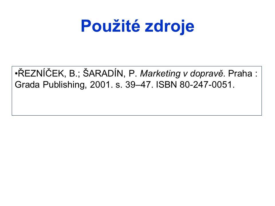 Použité zdroje ŘEZNÍČEK, B.; ŠARADÍN, P. Marketing v dopravě. Praha : Grada Publishing, 2001. s. 39–47. ISBN 80-247-0051.