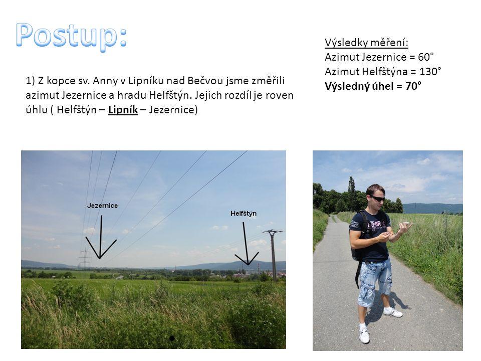 1) Z kopce sv. Anny v Lipníku nad Bečvou jsme změřili azimut Jezernice a hradu Helfštýn.