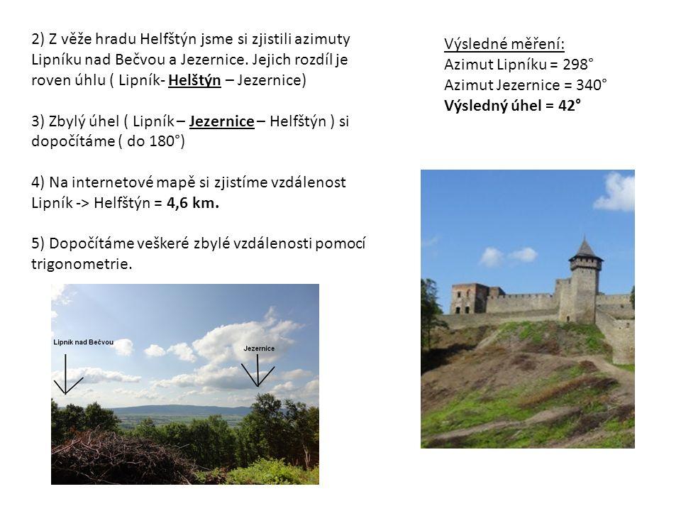 2) Z věže hradu Helfštýn jsme si zjistili azimuty Lipníku nad Bečvou a Jezernice.