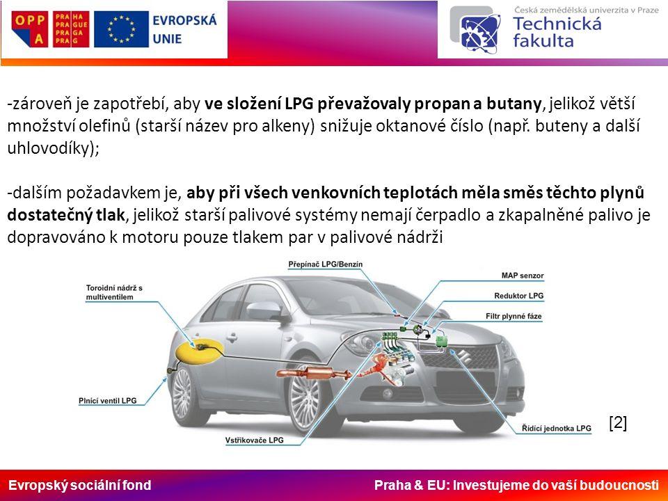 Evropský sociální fond Praha & EU: Investujeme do vaší budoucnosti -zároveň je zapotřebí, aby ve složení LPG převažovaly propan a butany, jelikož větší množství olefinů (starší název pro alkeny) snižuje oktanové číslo (např.