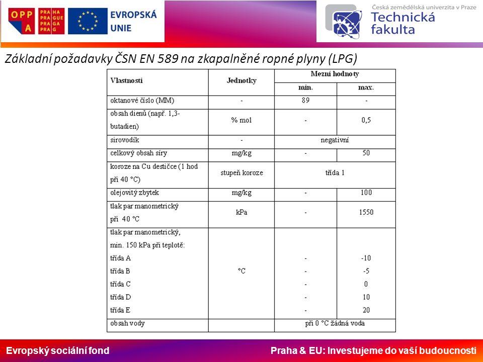 Evropský sociální fond Praha & EU: Investujeme do vaší budoucnosti Základní požadavky ČSN EN 589 na zkapalněné ropné plyny (LPG)