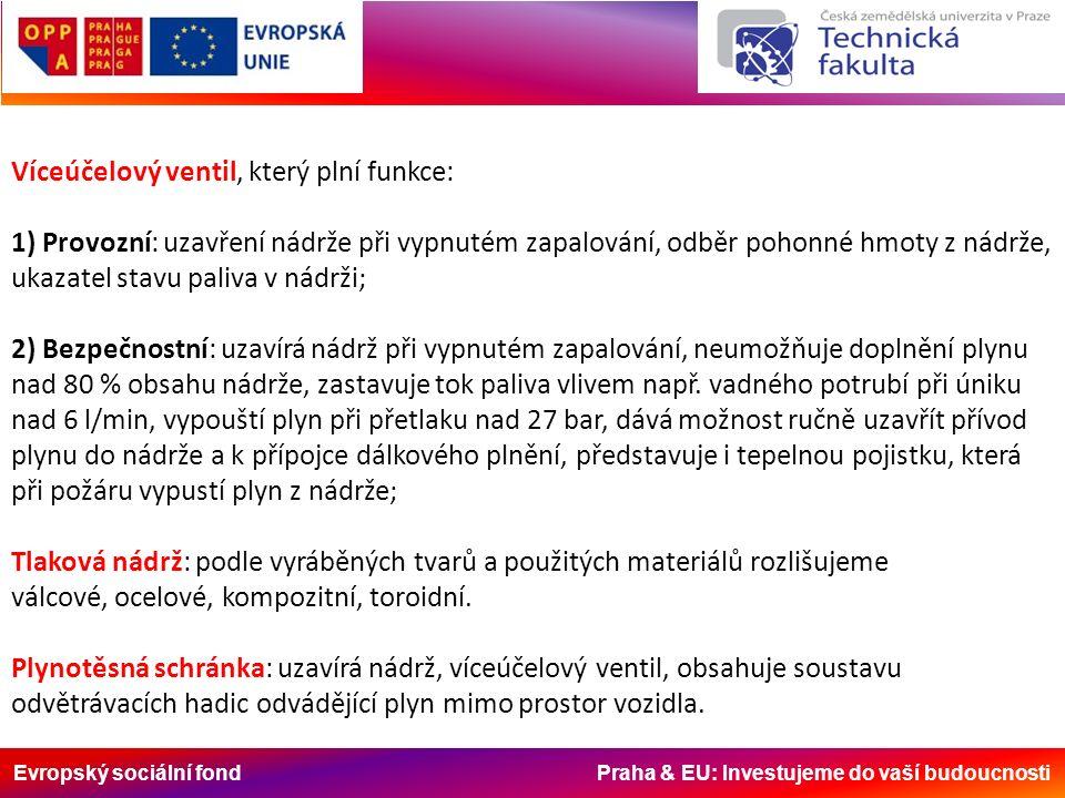 Evropský sociální fond Praha & EU: Investujeme do vaší budoucnosti Víceúčelový ventil, který plní funkce: 1) Provozní: uzavření nádrže při vypnutém za