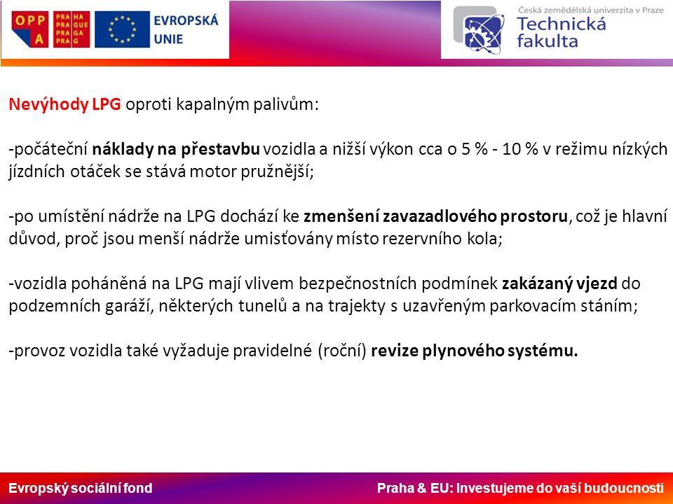 Evropský sociální fond Praha & EU: Investujeme do vaší budoucnosti Nevýhody LPG oproti kapalným palivům: -počáteční náklady na přestavbu vozidla a nižší výkon cca o 5 % - 10 % v režimu nízkých jízdních otáček se stává motor pružnější; -po umístění nádrže na LPG dochází ke zmenšení zavazadlového prostoru, což je hlavní důvod, proč jsou menší nádrže umisťovány místo rezervního kola; -vozidla poháněná na LPG mají vlivem bezpečnostních podmínek zakázaný vjezd do podzemních garáží, některých tunelů a na trajekty s uzavřeným parkovacím stáním; -provoz vozidla také vyžaduje pravidelné (roční) revize plynového systému.