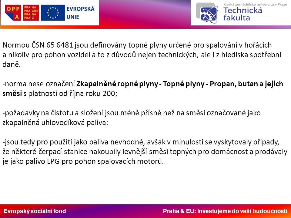 Evropský sociální fond Praha & EU: Investujeme do vaší budoucnosti Normou ČSN 65 6481 jsou definovány topné plyny určené pro spalování v hořácích a nikoliv pro pohon vozidel a to z důvodů nejen technických, ale i z hlediska spotřební daně.