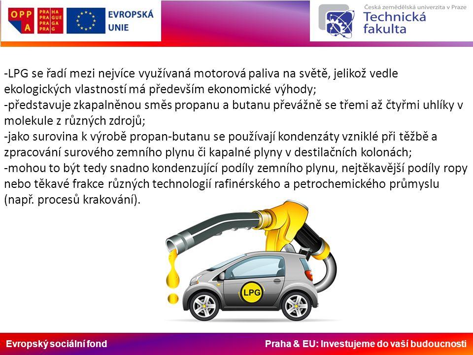 Evropský sociální fond Praha & EU: Investujeme do vaší budoucnosti -LPG se řadí mezi nejvíce využívaná motorová paliva na světě, jelikož vedle ekologi