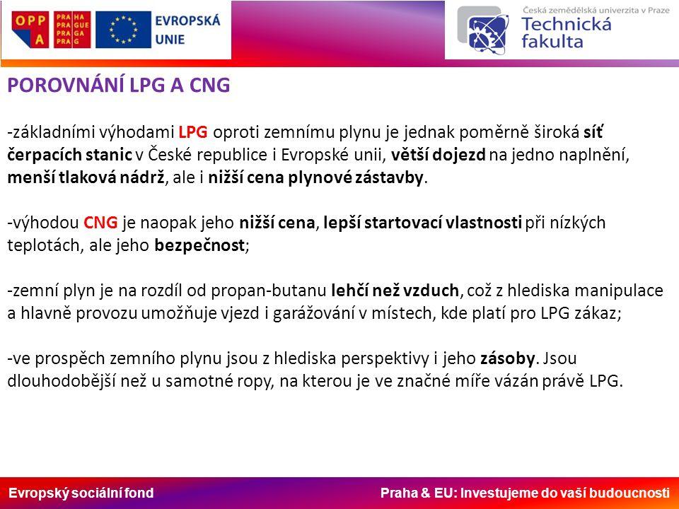 Evropský sociální fond Praha & EU: Investujeme do vaší budoucnosti POROVNÁNÍ LPG A CNG -základními výhodami LPG oproti zemnímu plynu je jednak poměrně široká síť čerpacích stanic v České republice i Evropské unii, větší dojezd na jedno naplnění, menší tlaková nádrž, ale i nižší cena plynové zástavby.