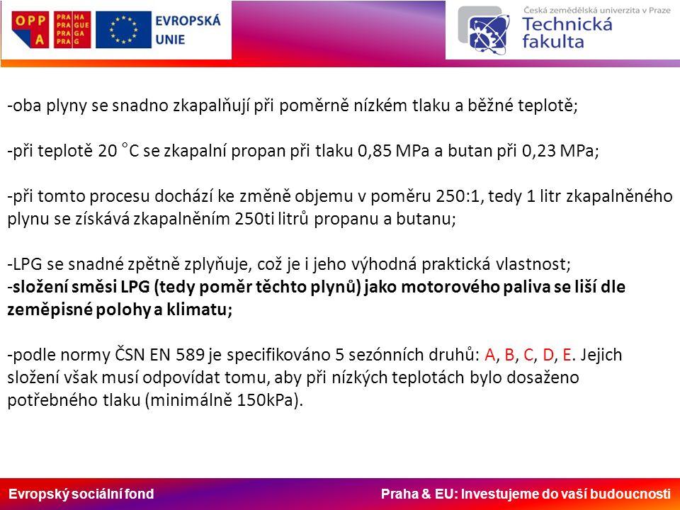 Evropský sociální fond Praha & EU: Investujeme do vaší budoucnosti -oba plyny se snadno zkapalňují při poměrně nízkém tlaku a běžné teplotě; -při teplotě 20 °C se zkapalní propan při tlaku 0,85 MPa a butan při 0,23 MPa; -při tomto procesu dochází ke změně objemu v poměru 250:1, tedy 1 litr zkapalněného plynu se získává zkapalněním 250ti litrů propanu a butanu; -LPG se snadné zpětně zplyňuje, což je i jeho výhodná praktická vlastnost; -složení směsi LPG (tedy poměr těchto plynů) jako motorového paliva se liší dle zeměpisné polohy a klimatu; -podle normy ČSN EN 589 je specifikováno 5 sezónních druhů: A, B, C, D, E.