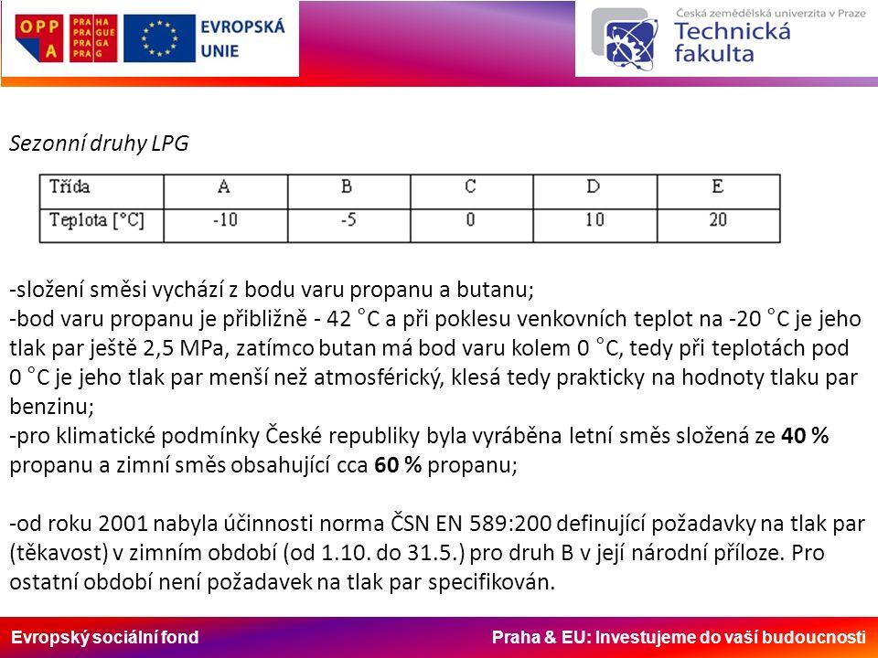 Evropský sociální fond Praha & EU: Investujeme do vaší budoucnosti Sezonní druhy LPG -složení směsi vychází z bodu varu propanu a butanu; -bod varu pr