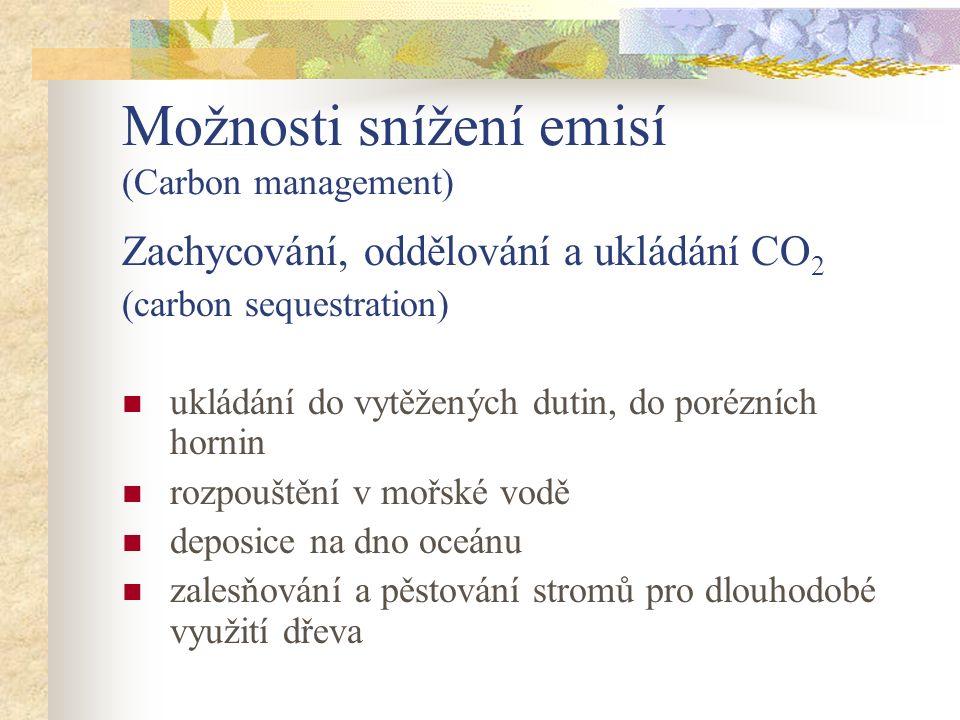 Možnosti snížení emisí (Carbon management) Zachycování, oddělování a ukládání CO 2 (carbon sequestration) ukládání do vytěžených dutin, do porézních hornin rozpouštění v mořské vodě deposice na dno oceánu zalesňování a pěstování stromů pro dlouhodobé využití dřeva