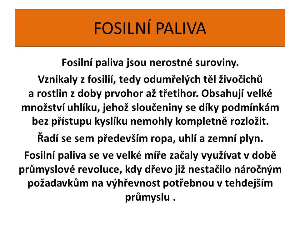 FOSILNÍ PALIVA Fosilní paliva jsou nerostné suroviny.