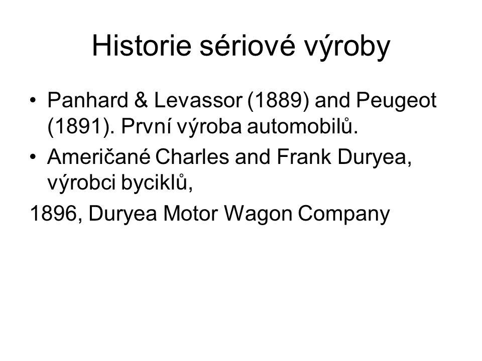 Historie sériové výroby Panhard & Levassor (1889) and Peugeot (1891). První výroba automobilů. Američané Charles and Frank Duryea, výrobci byciklů, 18