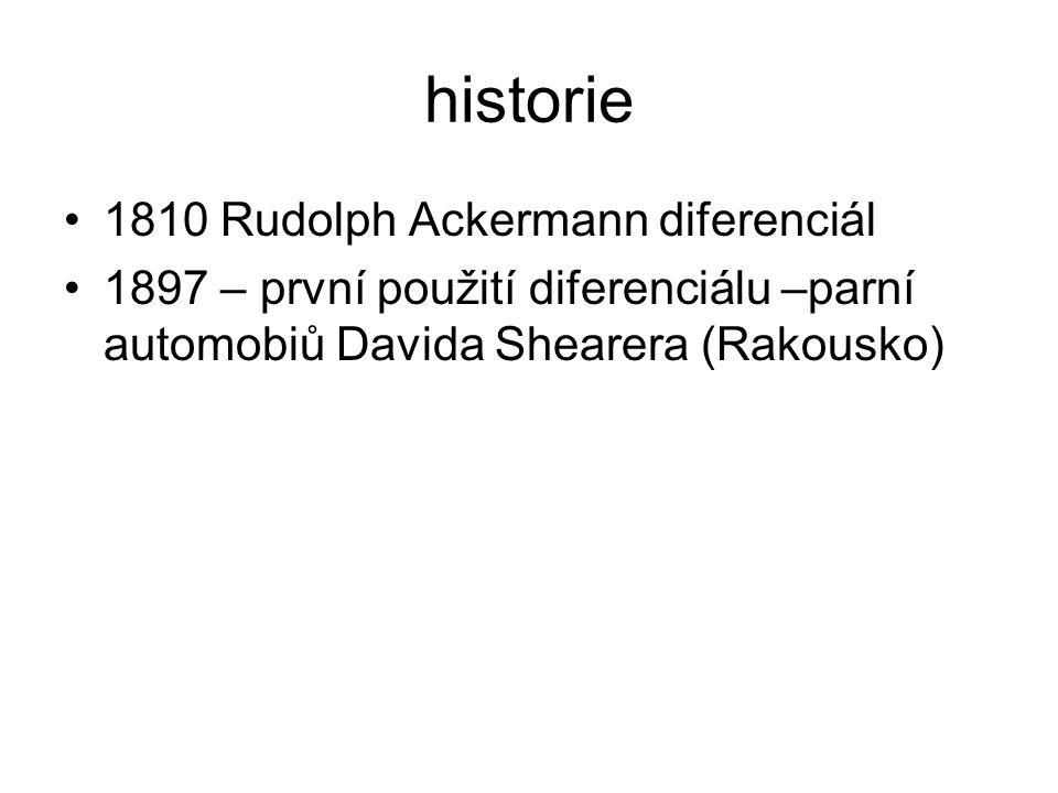 historie 1810 Rudolph Ackermann diferenciál 1897 – první použití diferenciálu –parní automobiů Davida Shearera (Rakousko)