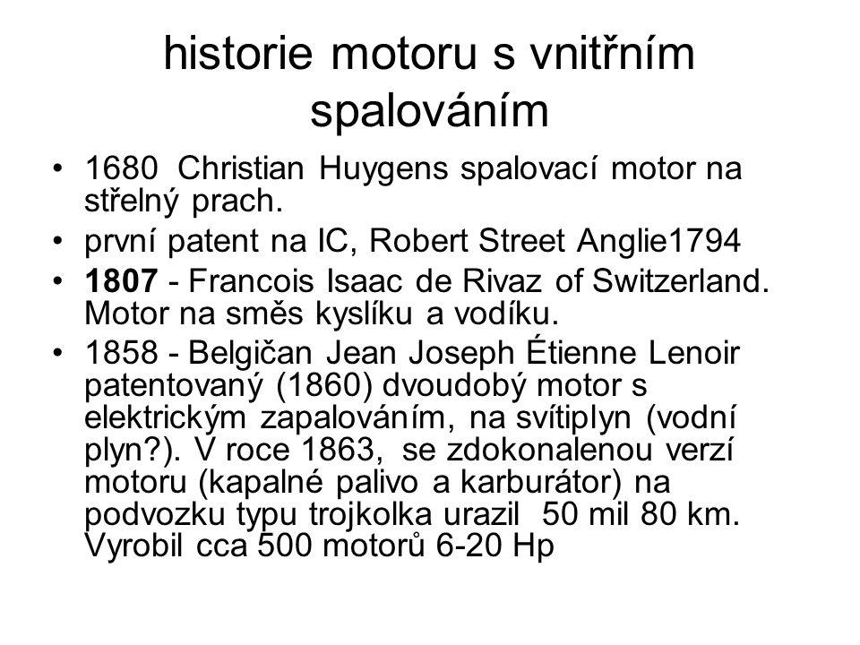 historie motoru s vnitřním spalováním 1680 Christian Huygens spalovací motor na střelný prach. první patent na IC, Robert Street Anglie1794 1807 - Fra
