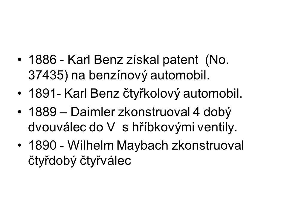 1886 - Karl Benz získal patent (No. 37435) na benzínový automobil. 1891- Karl Benz čtyřkolový automobil. 1889 – Daimler zkonstruoval 4 dobý dvouválec
