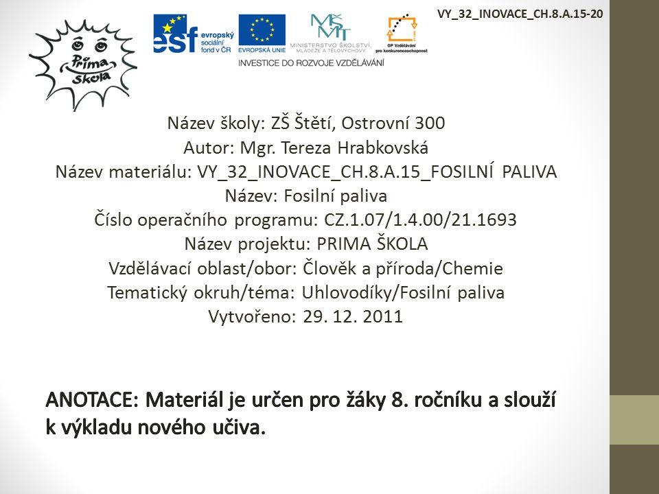 VY_32_INOVACE_CH.8.A.15-20 Název školy: ZŠ Štětí, Ostrovní 300 Autor: Mgr.