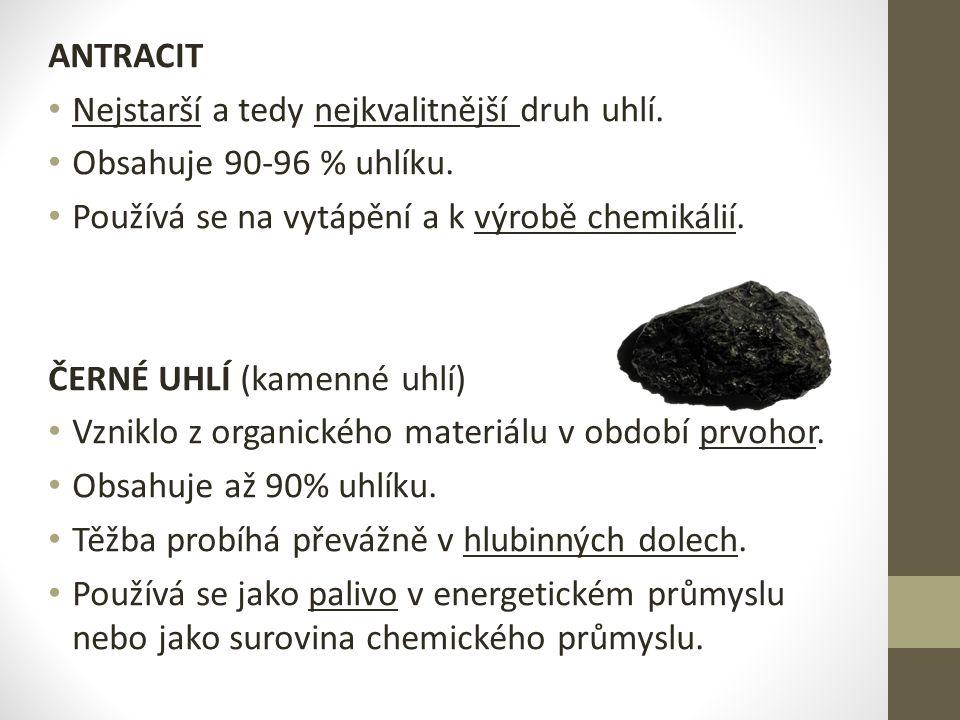ANTRACIT Nejstarší a tedy nejkvalitnější druh uhlí.