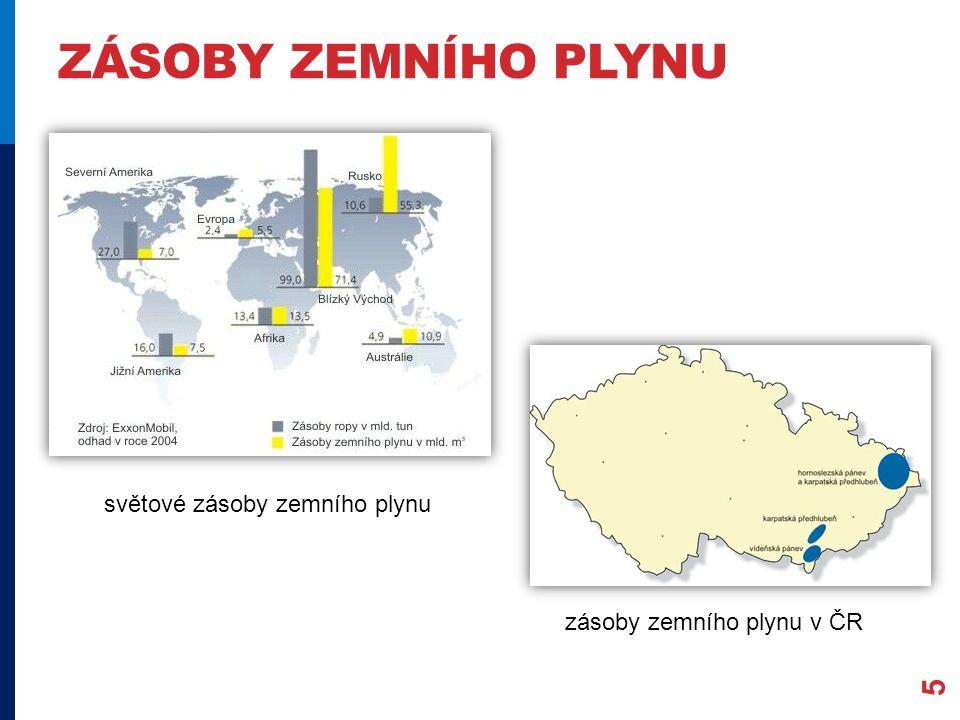 ZÁSOBY ZEMNÍHO PLYNU 5 světové zásoby zemního plynu zásoby zemního plynu v ČR